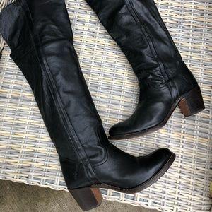 FRYE OTK Boots 8.5 Slouchy Cowboy Black